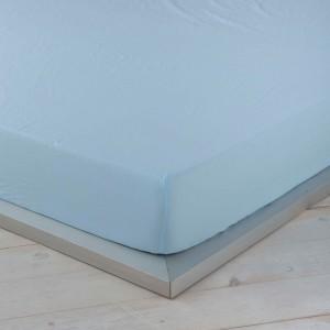 Sábana bajera ajustable lino azul mar